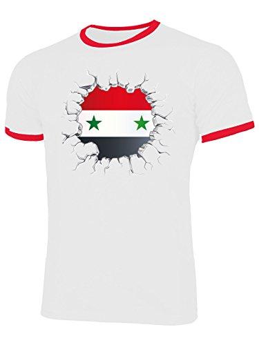 Syrien Syria 5804 Fussball Fanshirt Fan Shirt Tshirt Fanartikel Artikel Männer Trikot Look Flagge Fahne Männer Ringer S