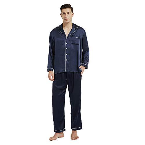 Mommesilk Pijamas de seda para hombres 100% pura seda natural de morera para dormir noche suave, ropa de dormir de seda, ropa de salón cómoda, azul marino XS