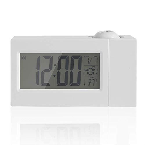 ZHHZ Projektionswecker, LCD Digital Wireless Sound Control Deckenprojektionsalarm mit Schlummer- / Datumsanzeige/Innentemperaturfunktion (weiß)