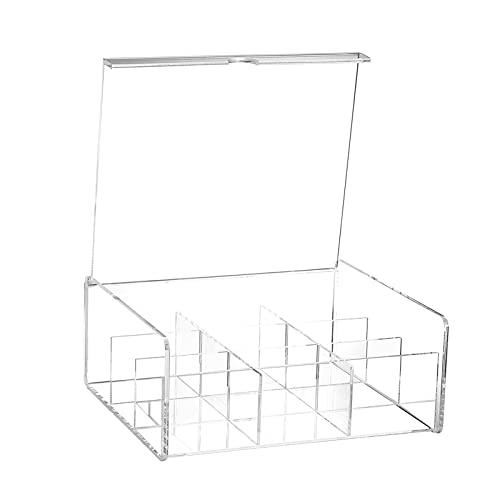 ZIS 1 stück Acryl Teebeutel Aufbewahrungsbox Kosmetische Aufbewahrungskoffer Küche Zuckerbeutelhalter (Color : Transparent Color, Size : 23x20cm)