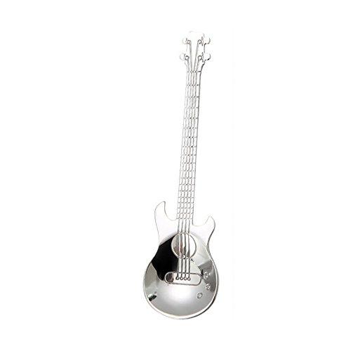 iXOOAA Edelstahl Gitarrenlöffel Regenbogen Kaffee Teelöffel Besteck Trinkwerkzeuge (Silber)