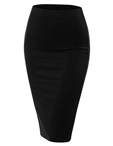 Doublju Stretch Knit Midi Pencil Skirt with Back Slit for Women with Plus Size Black Small