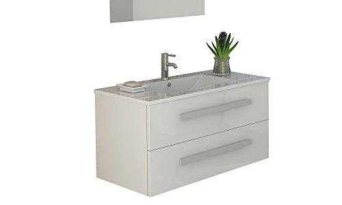 Jet-line Badset Badmöbel Waschtisch 'Locarno' Schwarz, Weiß oder Grau Hochglanz Unterschrank Badmöbelset (Weiß)