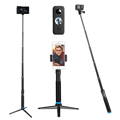 Selfie Stick with Tripod Phone Holder, TELESIN Waterproof Selfie Pole Aluminum Extendable Monopod for GoPro Max Hero 10 9 8 7 6 5, Insta 360 One R, One X2, Go2, DJI Osmo Action 2, Osmo Pocket