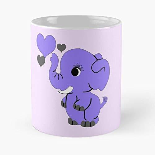 Desconocido Adorable Zoo Baby Cute Animals Elephants Purple Elephant Taza de café con Leche 11 oz