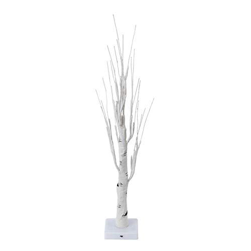 Pelnotac Lámpara de mesa LED protección ojo 24 LED blanco abedul árbol luz árboles decoración lámpara de mesa para fiesta dormitorio comedor