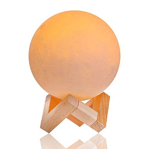 Lámpara de Luna 3D, Yizhet LED Luna Luz Nocturna Recargable USB 2 Colores Control Táctil Lunar Lampara Decorativa para Dormitorio, Decoración Navideña, (Amarillo y Blanco Frío,12cm)