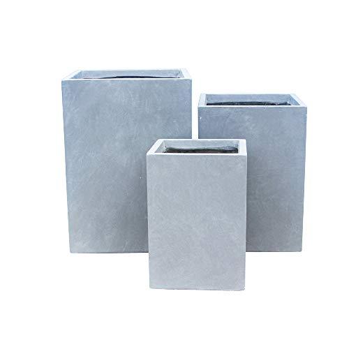 Kante RF0007ABC-C60611 Lightweight Concrete Tall Square Outdoor, Set of 3 Planter, Slate Gray