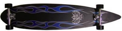 Krown Longboard Komplettboard Skateboard Blue Flame Pintail