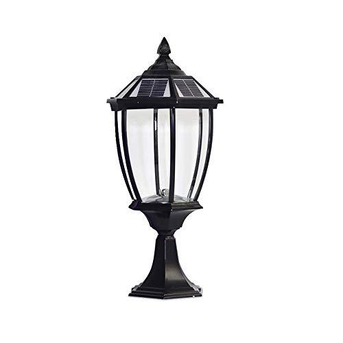 KAIKEA Black Glass Solar Pillar Lantern, Door Post Decoration Vintage IP65 Waterproof Pillar Post Lamps, Home Lmprovement Post Light For Yard Porch Dock Die-cast Aluminum Outdoor Post Light Fixtures