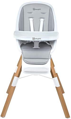 Babygo Carou 360º Hochstuhl, Drehbar, Sicherheitsgurt, Verstellbare, Abnehmbare Fußstütze mit Essenstablett, Weiß