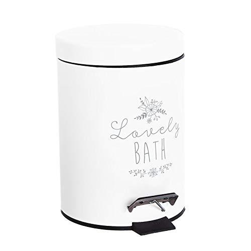 Makingifts Papelera de Baño, Cubo Basura Reciclaje con Pedal y Tapa 3 litros Lovely Blanca 24 cm