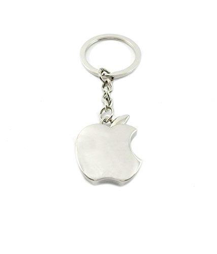 Discount4product Hochwertige Schlüsselanhänger, aus reinem Metall, Stahl, silber, Fruit-Apple