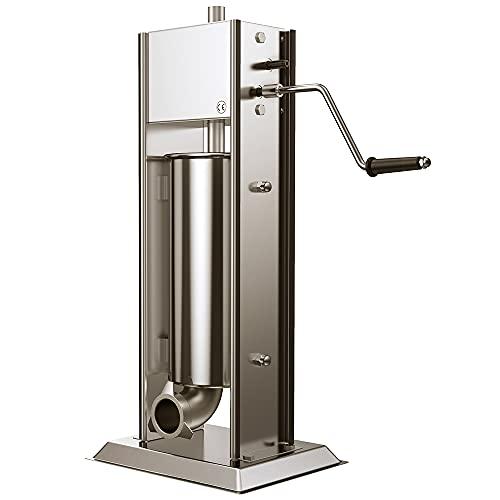 Anbull Embutidora Profesional Manual de Salchichas, 2 Velocidades Acero Inoxidable Vertical Máquina de Salchicha con 5 Tubos de llenado, Goma anti-corte, para uso Doméstico y Comercial (5L)