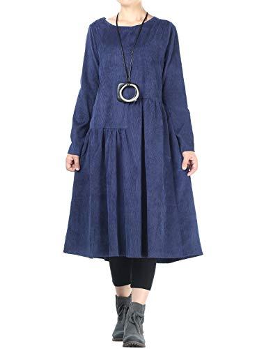 Mallimoda Damen Rundhals Langarm Kleider Corduroy Oversize Pullover Kleid Blau XXL