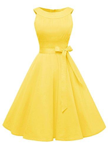Timormode Timormode Damen Retro 50er Party Swing Brautjungfern Rockabilly Einfarbig Kleid 10408 M Gelb