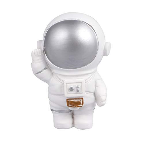 Amosfun - Figura de resina astronauta de pastel, topper Spaceman, decoración de escritorio, decoración de astronauta, decoración de fiesta, suministros de plata, Petit, plata, 1