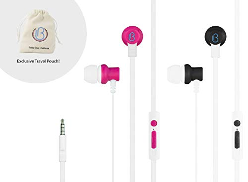 loveBuds - Two Person Earphones Earbuds Headphones Built into one 3.5mm Audio Jack, with Separate Individual Volume Controls and Microphones. No splitters Required. Includes Exclusive Travel Pouch!