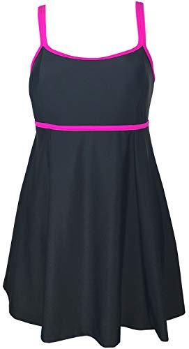 DANIFY Women's Plus Size Swimdress One Piece Cover Up Tankini Bathing Suits,Black-rose,US20/IT54