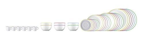 Arzberg CUCINA Colori 36tlg. Speise Service, Kaffee Service (6 Speiseteller, 6 Suppenteller, 6 Frühstücksteller, 6 Kombitasse, 6 Kombi Untertasse, 6 Schüsseln, in 6 unterschiedlichen Farben)