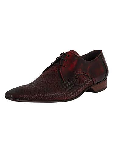 Jeffery West de los Hombres Zapatos Derby de Cuero Brogue, Rojo