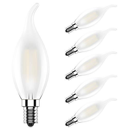 5X E14 Filamento LED Candela Fiamma 4W Filamento Lampadine Bianco Caldo 2700K Alta Luminosità 400LM Lampadina Edison AC220V-240V