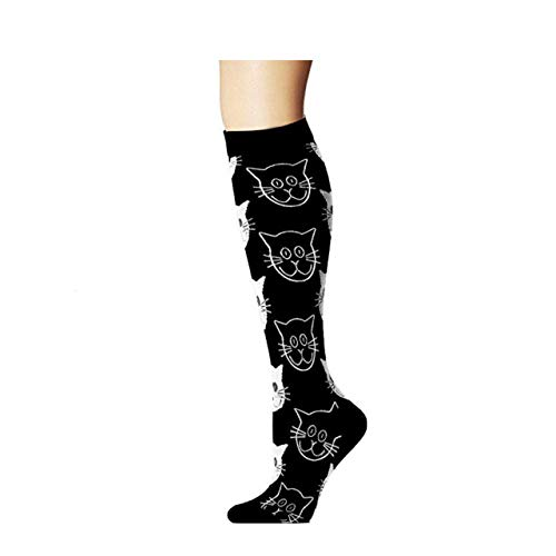 UNUStyle Neuheit Socken Halloween Kreative Katze Drucken Sport Compress Socken Happy Sox Lustige Neuheit Mode Hip Hop Tide Multipack 3 Paare Langes Bein Multi Color Cotton Frauen