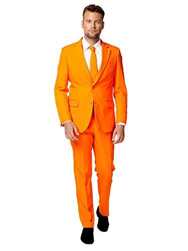 OppoSuits Modisch Party Einfarbige Anzüge für Herren - Mit Jackett, Hose und Krawatte, Orange (The Orange), 62