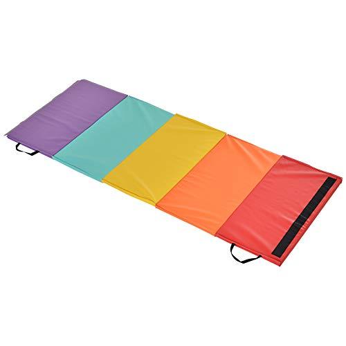 homcom Tappetino Fitness/Yoga per Palestra e Casa, con 5 Pannelli Colorati e Pieghevoli, Imbottitura in EPE, 195x76x3 cm