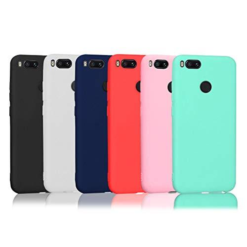 6 x Funda Xiaomi Mi A1, Wanxideng Carcasa Suave Mate en Silicona TPU - Soft Silicone Case Cover - 6 Fundas de Colores [ Negro + Rojo + Azul Oscuro + Rosa + Verde Menta + Transparente ]