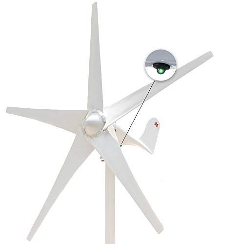 Marsrock 400W Windmill 24V AC with Charging LED Small Wind Turbine Generator MPPT Controller for Wind Solar Hybrid System 2m/s Low Start Wind Speed with 5 Blades(5S-400H-24W)