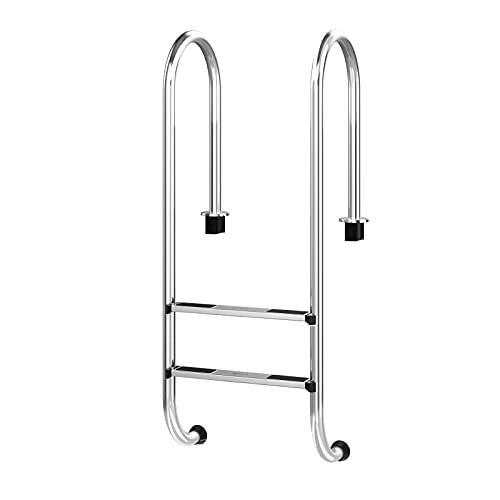 COSTWAY Escalera para Piscina con 2 Peldaños Escalera Antideslizante de Acero Inoxidable Capacidad Carga hasta 200kg,54,5 x 39 x 138,5 centímetros