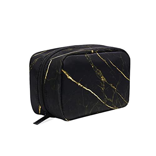 BOLOL - Bolsa de maquillaje con textura de mármol negro para cosméticos, neceser bolsa de viaje grande para mujeres y niñas, patrón de línea dorada, organizador portátil, bolsa de almacenamiento