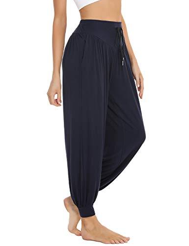 Sykooria Pantalones Deportivos para Mujer de Algodón Pantalones de Yoga con Bolsillos Pantalón de Harem...