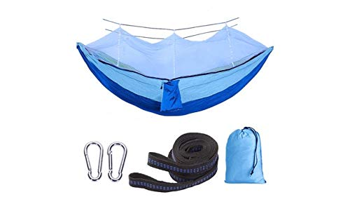 Single Camping Hammock with Mosquito/Bug Net 9ft Hammock Adjustable Tree Straps and Carabiners Easy Assembly Portable Parachute Nylon Hammock for Camping Backpacking Survival Travel amp More
