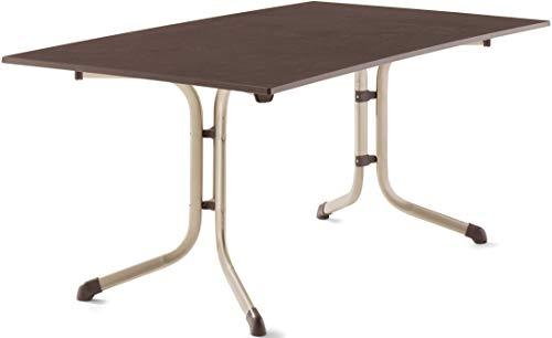 SIEGER 3180-60 Boulevard-Klapptisch mit vivodur-Platte 165x95 cm, Stahlrohrgestell, Tischplatte Schieferdekor, Champagner/Schiefer Mocca