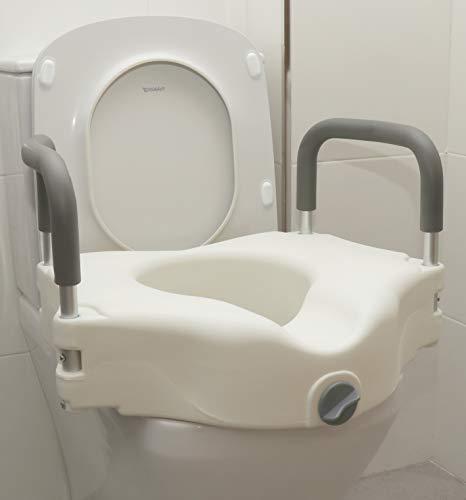 OrtoPrime Elevador WC Adulto con Reposabrazos Acolchados - Altura 12 cm - Alza para wc Inodoro Baño Adaptado - Alzador WC Adulto con Sujeción de Seguridad