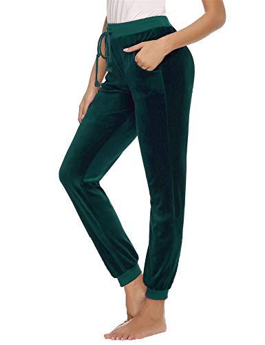 Abollria Damen Lange Haushose Nicki Freizeithose Gummizug Samtweiche Luftige Sporthose mit Tasche Jogging Hose,Dunkelgrün,L