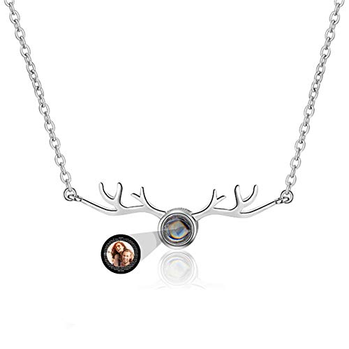 Custom Photo Woman Necklace Personalized Projection Necklace I Love You 100 Languages Necklace Promise 925 Sterling Silver Necklace Mother's Day Birthday for Women(Silver Full Color 14)