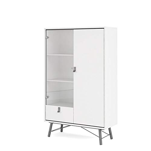 Tvilum Drawer China Cabinet 1 Glass Door, White Matte/Black