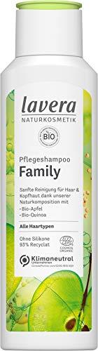 lavera, Pflegeshampoo Family mit BioApfel BioQuinoa sanfte Reinigung für Haar Kopfhaut Naturkosmetik vegan 250ml, weiß