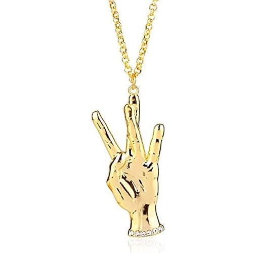 Jpenxv Nuevo Collar de Oro Collar Collar Cadena Rock Rock Relanding Cadena de Aguja Hebe Ming Star Regalo