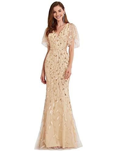 Ever-Pretty Vestiti da Damigella Lungo Stile Impero Scollo a V Maniche Corte Elegante Donna Oro 48