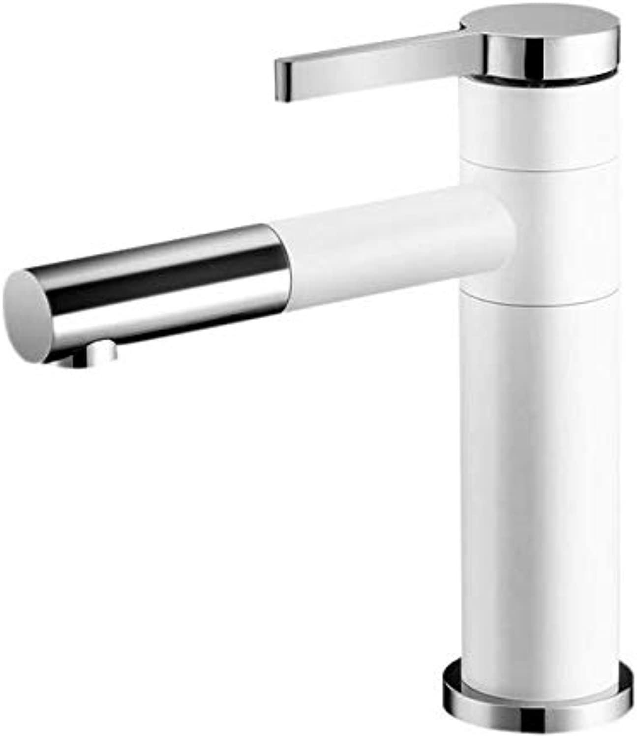 Pull-Type Basin Faucet hot and Cold wash Basin Black and White Household Bathroom Telescopic wash Basin Basin Faucet
