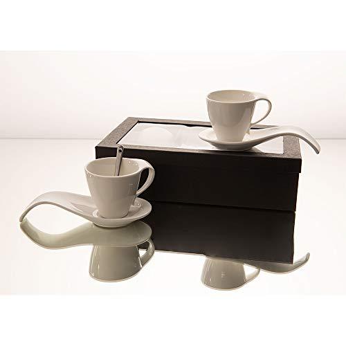 Amadeus - Coffret 4 tasses 150 ml porcelaine avec sous tasses et cuillère silver
