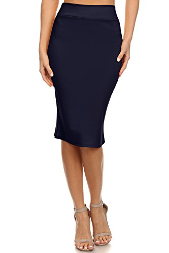 Simlu Navy Blue Pencil Skirt Below Knee Stretch Skirts For Women Plus Size and Regular,Large