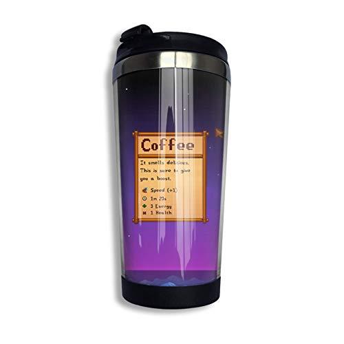 Hdadwy Stardew Valley Coffee Taza de café de acero inoxidable con cubierta protectora, taza de viaje, color negro, talla única