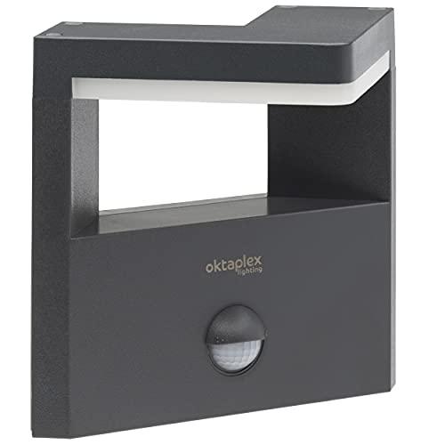 Oktaplex Lighting LED Außenleuchte Wand mit Bewegungsmelder 15W Santa Motion Aussenleuchte Sensor Anthrazit IP54 Außenlampe 3000K warmweiß