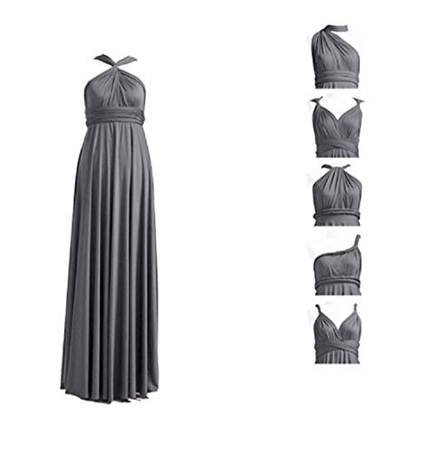Infinity Kleid inklusive Bandeau Top Brautjungfernkleid Gr. 34-48 viele Farben Wickelkleid lang, 70 Verschiedene Wickelarten Brautkleid, Abendkleid Kleid lang Maxikleid (Grau, 1 (34-42))