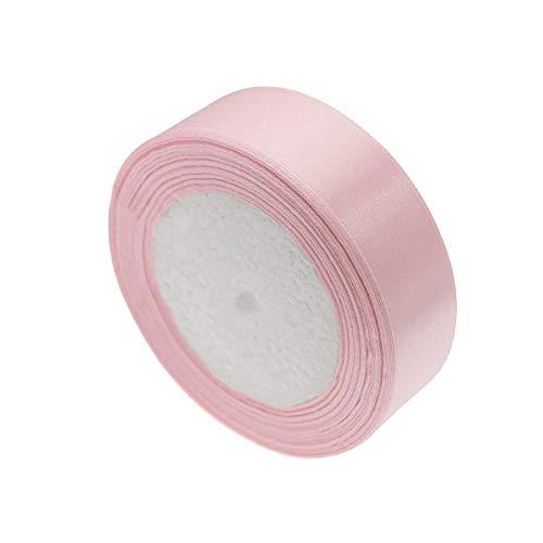 Cinta de satén, rollo de cinta de satén rosa para manualidades, lazos para envolver regalos (Ancho de aproximadamente 2,5 cm)